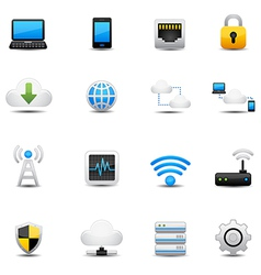 Network and cloud computing icons vector image vector image