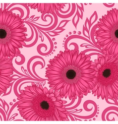 seamless pattern with gerbera flowers and swirls vector image