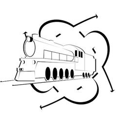 Abstract icon with an old locomotive vector image vector image