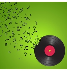 Abstract music background with notes and vinyl vector image