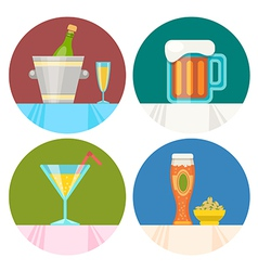 drink icons in flat design vector image vector image