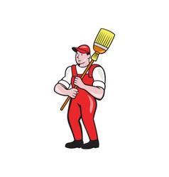 Janitor Cleaner Holding Broom Standing Cartoon vector image vector image