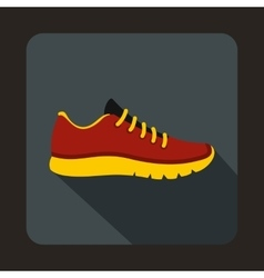 Red sneakers icon flat style vector image vector image