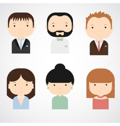 Set of colorful elegant successful people icons vector image
