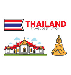 thailand tourism travel and thai culture symbols vector image vector image