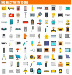 100 electricity icon set flat style vector image