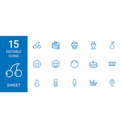 15 sweet icons vector