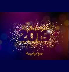 2019 happy new year with shiny vector image