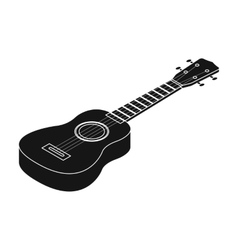 Acoustic bass guitar icon in black style isolated vector