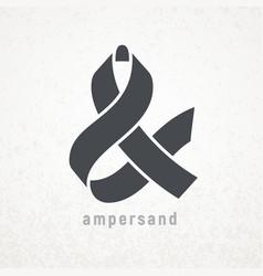 Ampersand elegant ribbon symbol on grunge vector