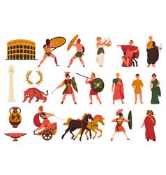 Ancient roman culture set vector