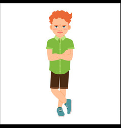 angry redhead boy in green shirt vector image