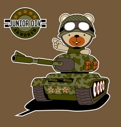 Army bear cartoon driving armored vehicle vector