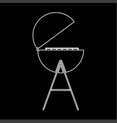 barbecue or grill white color path icon vector image