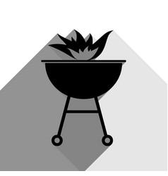 Barbecue with fire sign black icon with vector