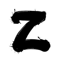 Blot letter z black and white vector
