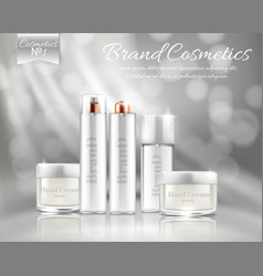 Bottles set for various cosmetic products vector