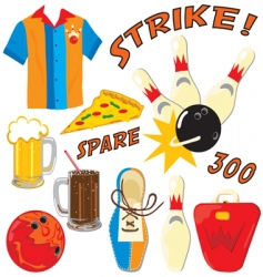 bowling party clip art icons vector image vector image