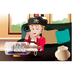 Boy dressed in a pirate outfit vector