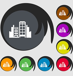 Buildings icon sign Symbols on eight colored vector image