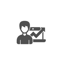 Business results simple icon growth chart vector