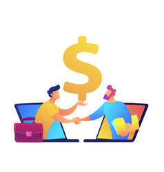 businessmen shaking hands from laptop screens vector image