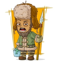 Cartoon drunk fisherman with basket and spear vector image