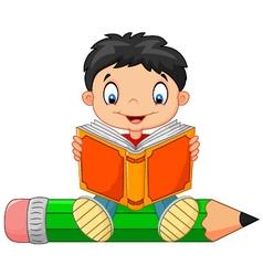 Cartoon little boy reading a book vector image
