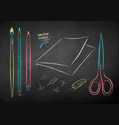 chalk drawn collection drawing items vector image