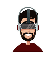 character man young wearing vr glasses vector image