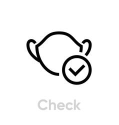 Check mask icon editable line vector