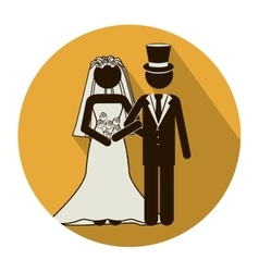 Circular shape pictogram of wedding couple with vector