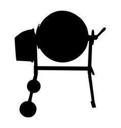 concrete mixer silhouette industrial machine vector image