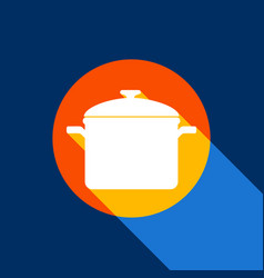 cooking pan sign white icon on tangelo vector image