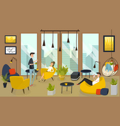 Cozy cafe in business center coffee house in vector