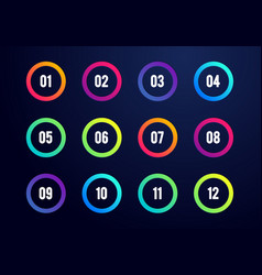 creative number bullet point set 1 to 12 vector image
