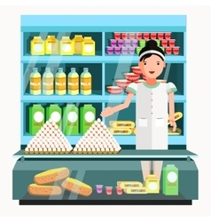 Dairy product seller at the counter and stall vector