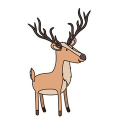deer cartoon with long horns colorful silhouette vector image
