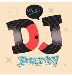 DJ Party Poster Design With Vinyl Record vector