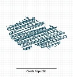 Doodle sketch of Czech Republic map vector image