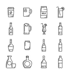 drinks bottle cup and mug icons vector image