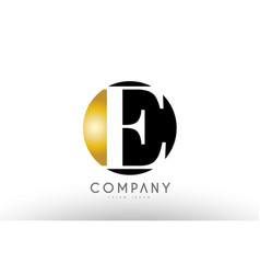 E black white gold golden letter logo design vector