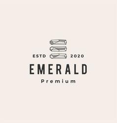 Emerald gem hipster vintage logo icon vector