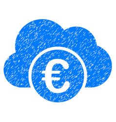 Euro cloud banking grunge icon vector