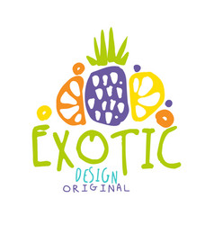 Exotic logo original design with tropical fruits vector