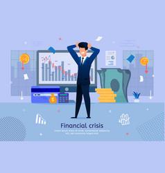 financial crisis risks flat banner template vector image