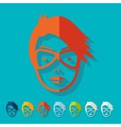 Flat design face girl vector image vector image