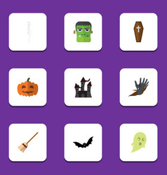 flat icon celebrate set of monster zombie vector image
