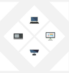 Flat icon computer set of display pc vintage vector