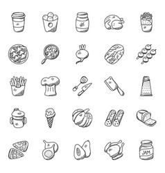 Food and kitchenware doodle icons vector
